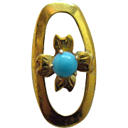 Beautiful Vintage 14K Gold Turquoise Floral Stick Pin