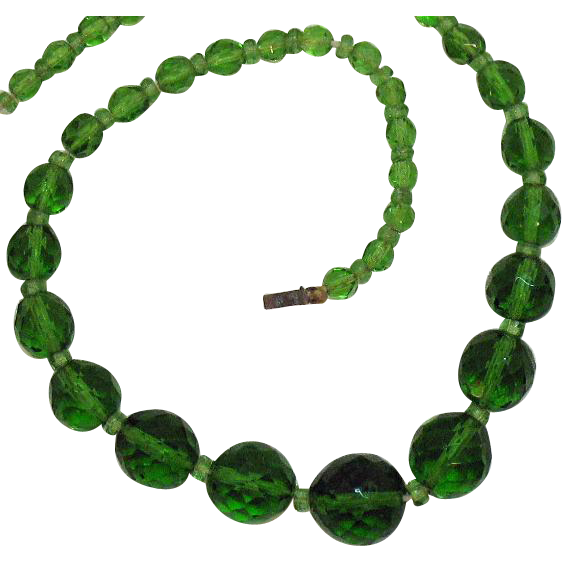 50% Off Very Old Vintage Signed Czechoslovakia Emerald Green Glass Beaded Necklace