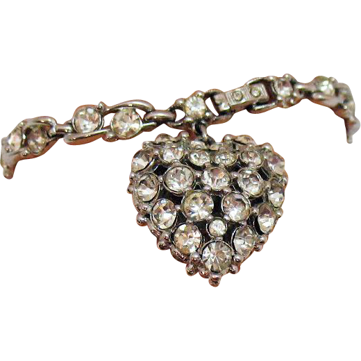 Beautiful Vintage Signed Bogoff Rhinestone Bracelet Puff Heart Charm