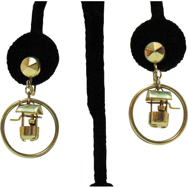 Unique Vintage Wish Well Mechanical Dangle Earrings
