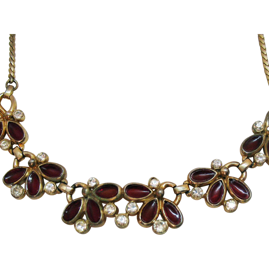 Unusual Vintage Poured Glass Rhinestone Choker Necklace