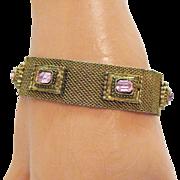 Vintage Victorian Revival Pink Rhinestone Mesh Bracelet