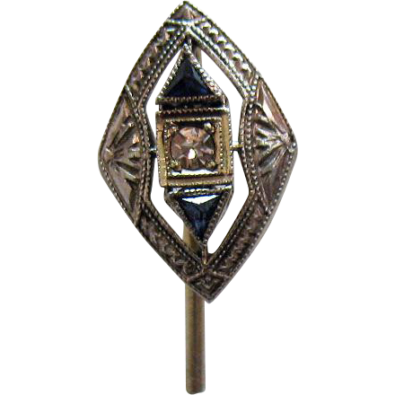 50% OFF Gorgeous Vintage Art Deco 14K White Gold Sapphire Diamond Art Deco Stick Pin