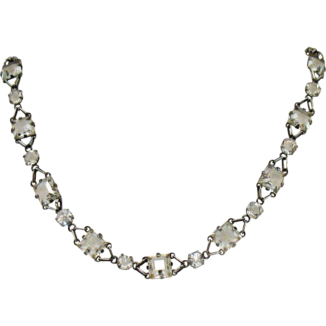 Art Deco Vintage Rock Crystal Sterling Silver Necklace