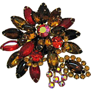 Gorgeous Vintage Big Bold Rhinestone Brooch/Pin