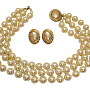 Gorgeous Vintage Signed Carolee Faux Mabe Pearl Necklace Pierced Earrings Set