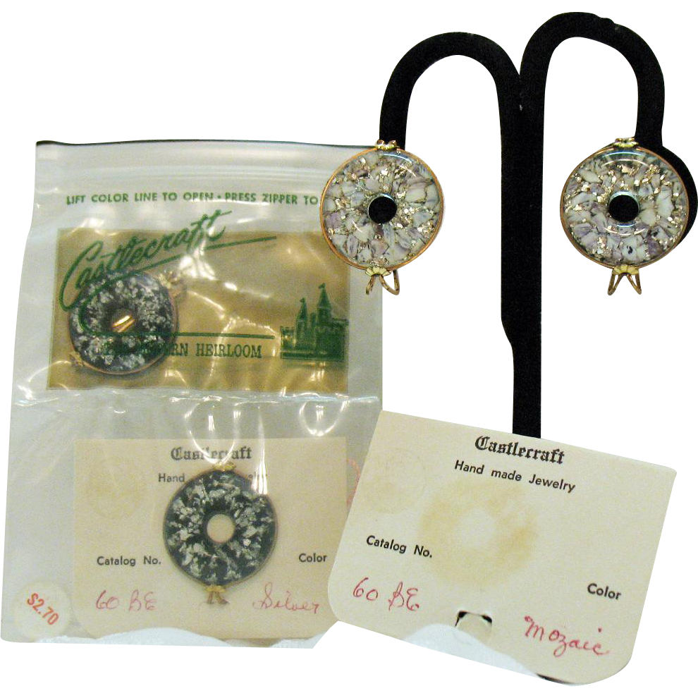 Two Pairs of Unusual Vintage Opalescent Glass Castlecraft Earrings~Original Packaging
