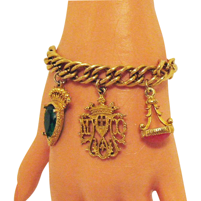 Really Cool Vintage Etruscan Style Chunky Charm Bracelet