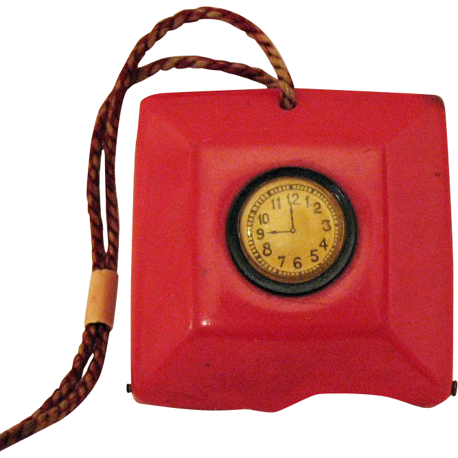 Unusual Vintage 1920s Art Deco Red Celluloid Plastic Coin Purse Faux Clock