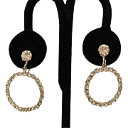 Beautiful Vintage Eternity Rhinestone Dangle Clip Earrings
