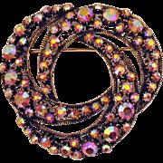 Gorgeous Vintage Signed Florenza Eternity Brooch AB Rhinestones