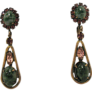 Unique Vintage Art Glass Rhinestone Clip Dangle Earrings