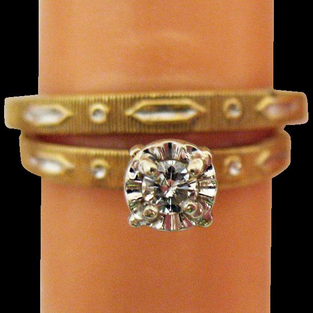 50% Off Gorgeous Vintage 1960s 14K Gold Diamond Wedding Ring Set with Original Box