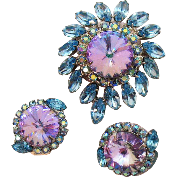 Stunning Vintage Lavender Rivoli Blue Navette Rhinestone Brooch Earrings Set