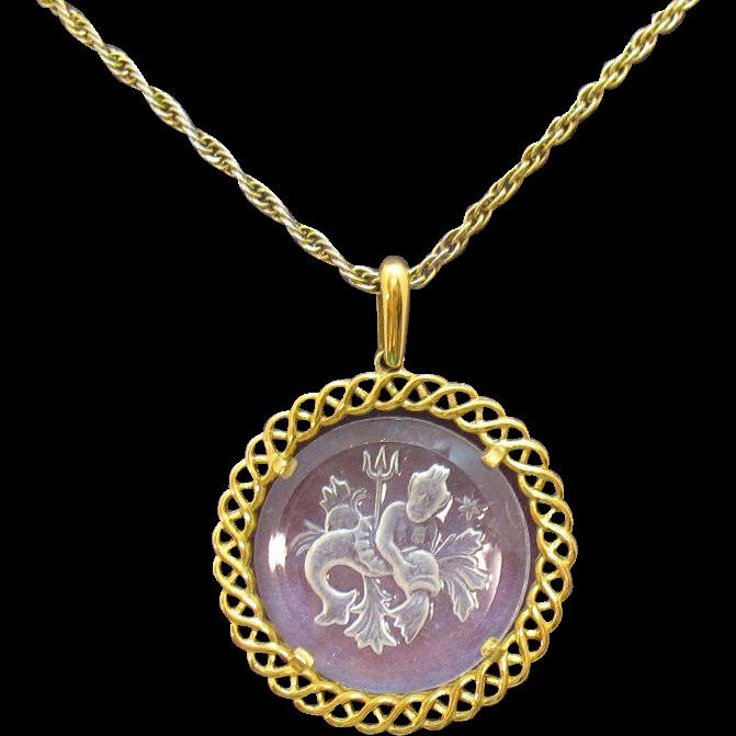 Signed Crown Trifari Vintage Glass Intaglio Neptune Pendant Necklace