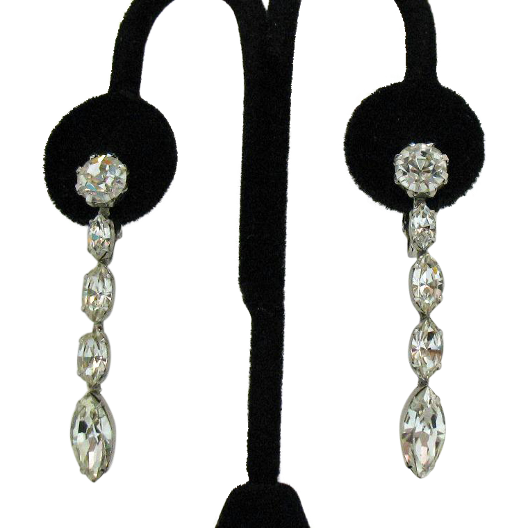 Rare Signed Enichei Vintage Dangle Navette Rhinestone Clip Earrings