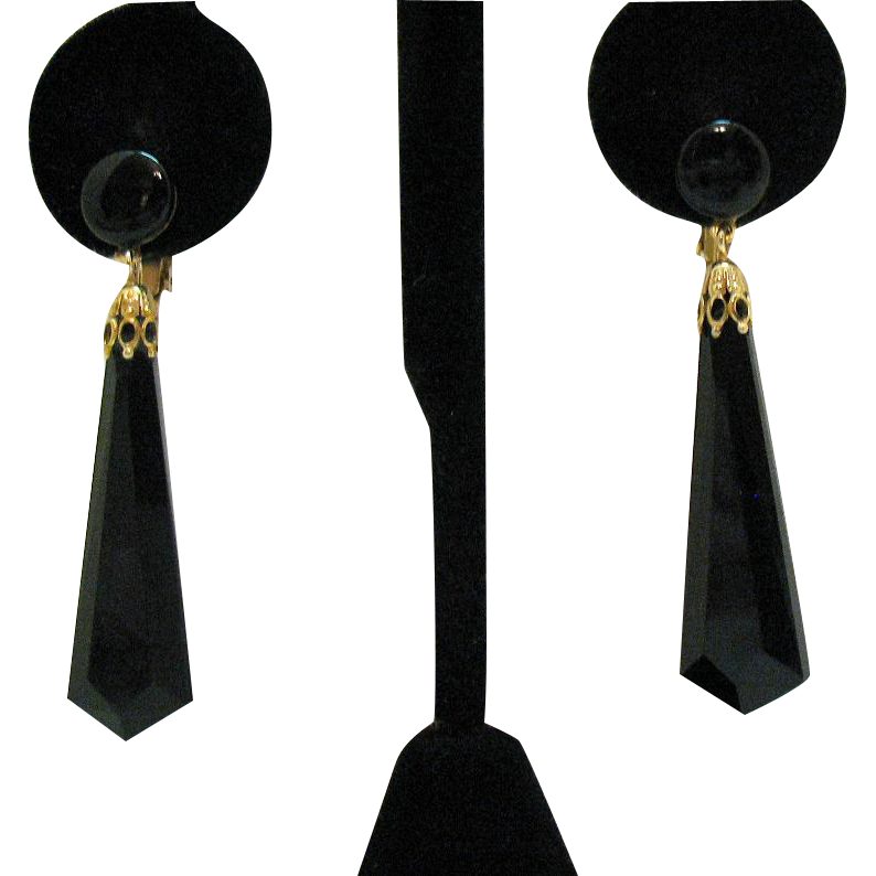 Unusual Signed Lewis Segal Vintage Faceted Black Glass Dangle Clip Earrings