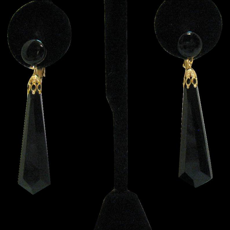 Unusual Signed Lewis Segal Vintage Faceted Black Glass Dangle Clip Earrings