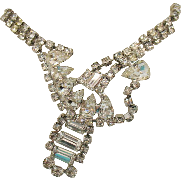 Breathtaking Vintage Abstract Crystal Rhinestone Necklace~Runway Worthy