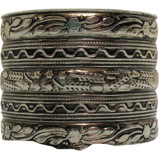 Awesome Vintage Aluminum Tin Etched Wide Cuff Bracelet