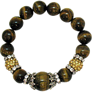 Lush Vintage Tigers Eye Gemstone Rhinestone Rondels Beaded Stretch Bracelet
