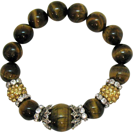50% Off Vintage Tigers Eye Gemstone Rhinestone Rondels Beaded Stretch Bracelet