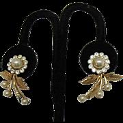 Gorgeous Vintage Faux Pearl Rhinestone Floral Earrings Screw Back