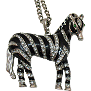 Vintage Enameled Rhinestone Zebra Pendant Necklace