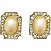 Gorgeous Signed Monet Vintage Faux Pearl Diamond Pierced Earrings