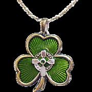 Vintage Sterling Silver Irish Blessing Prayer Guilloche Enameling Necklace Shamrock Cross Emerald