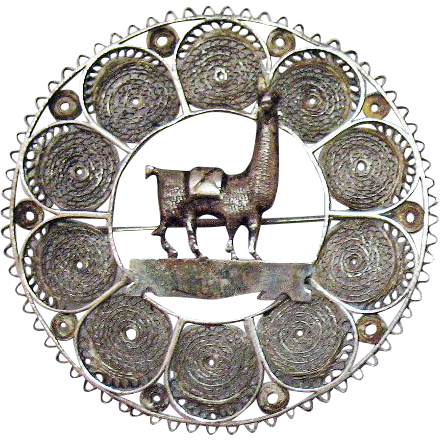 Amazing Vintage Sterling Silver Filigree Peruvian Llama Hand Wrought Brooch