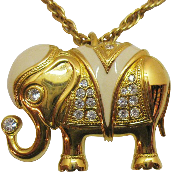Signed KJL for Avon Vintage Good Luck Elephant Pendant Necklace~MINT