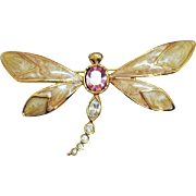 Signed KJL for Avon Vintage Enameled Rhinestone Dragon Fly Brooch