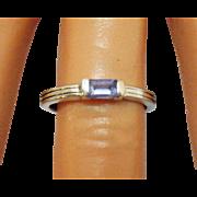 Vintage Emerald Cut Amethyst Sterling Silver Ring