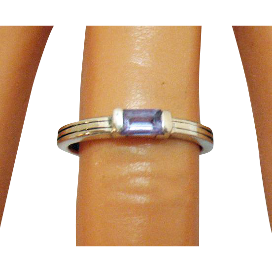 Vintage Emerald Cut Amethyst Sterling Silver Ring