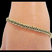 Vintage Sterling Silver Italian Gold Vermeil Flat Link Bracelet~Unisex 8 Inches Long