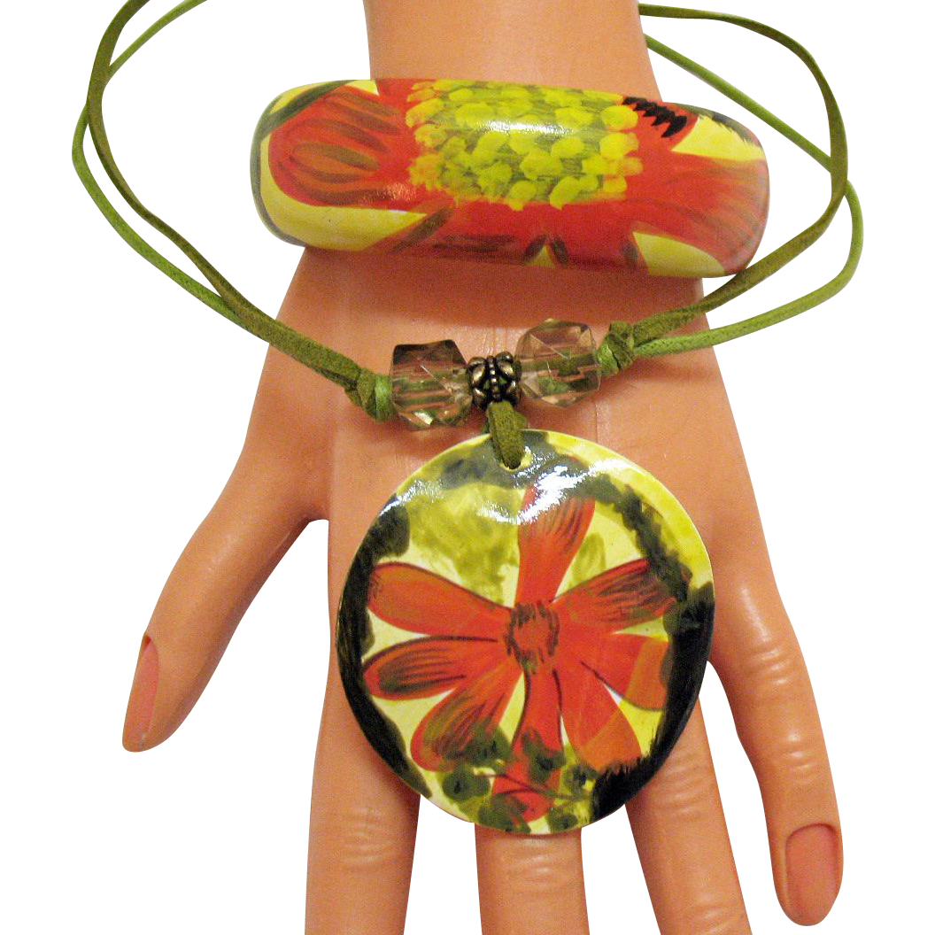 Tropical Vacation Vintage Necklace Bracelet Set Hand Painted Wood Leather