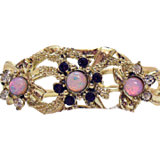 Vintage Unsigned Coro Amethyst Clear Rhinestone Givre Stone Bracelet