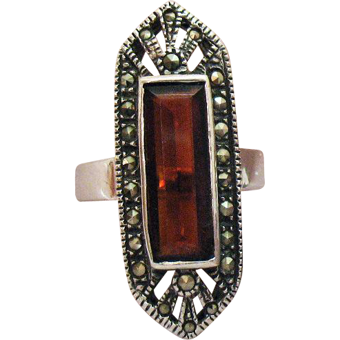 50% OFF Gorgeous Vintage Art Deco Sterling Silver Ring Marcasite Cognac Quarts