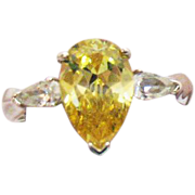 Rare AVON of Belleville Vintage Ring Simulated Canary Yellow Diamond Sterling Silver Marcel Boucher Designer