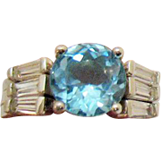 Rare AVON of Belleville Vintage Topaz Ring Simulated Diamond Ring Guards Sterling Silver Designer Marcel Boucher