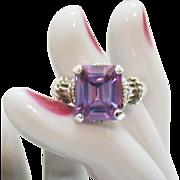 Stunning Vintage Emerald Cut Lavender Amethyst Sterling Silver Ring