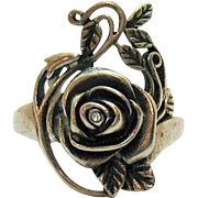 Vintage Sterling Silver Rose Ring with Simulated Diamond Accent