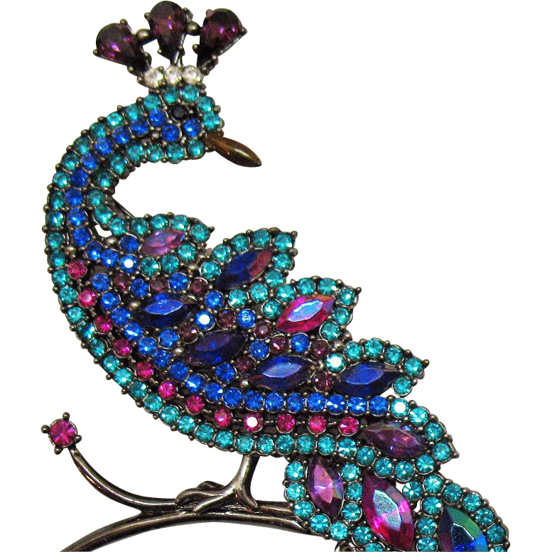 Rare AVON Hostess Gift Vintage Magnificent Peacock Brooch
