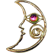 Vintage Rainbow Gripoix Glass Eye and Half Moon Face Brooch