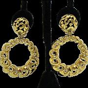 50% Off Bold Vintage Etruscan Style Dangle Hoop Clip Earrings