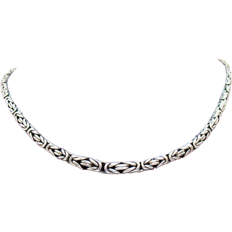 Gorgeous Vintage Signed Bali Sterling Silver Byzantine Chain Necklace Hand Forged