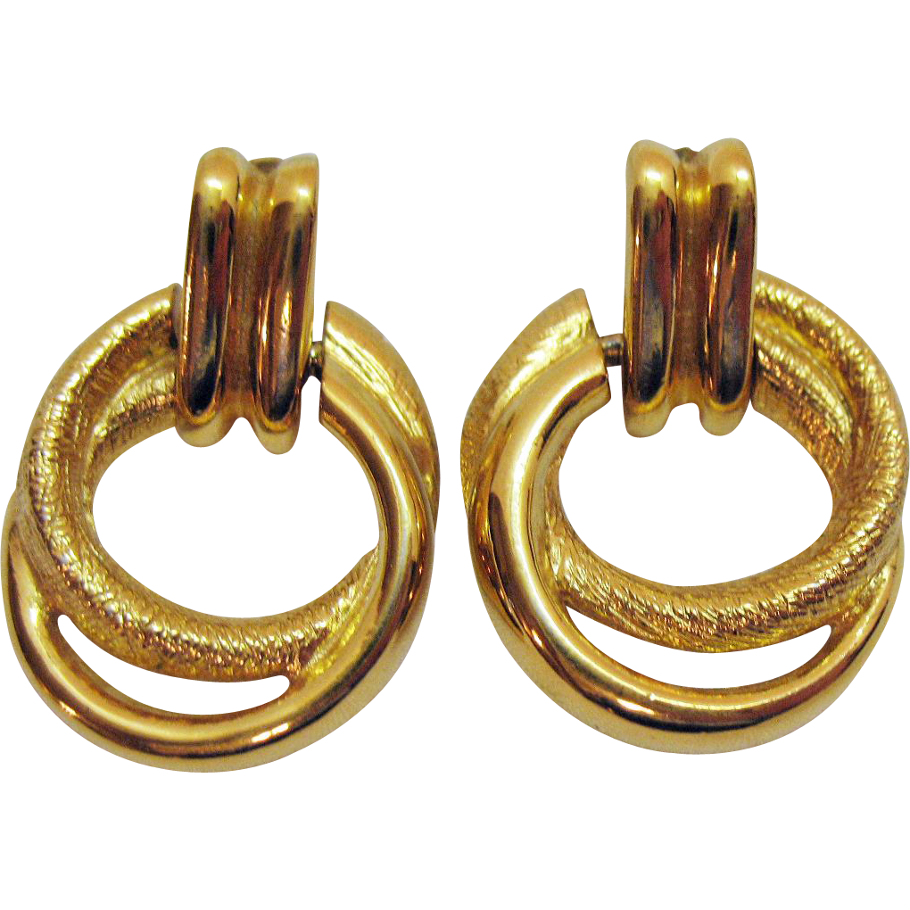 Vintage Signed Napier Golden Eternity Hoop Door Knocker Pierced Earrings