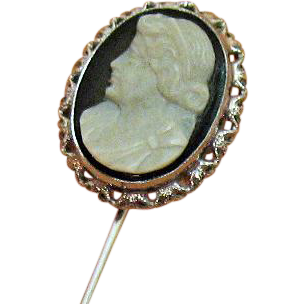 Vintage 14K White Gold Black White Cameo Stick Pin~Hard Stone