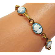 Vintage Wedgewood Blue Cameo Costume Jewelry Bracelet